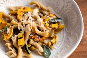 Fresh heritage wheat garganelli with roasted butternut and delicata squashes, brown butter and sage