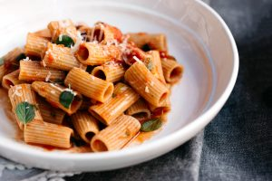Fresh heritage wheat rigatoni with pink pomodoro sauce